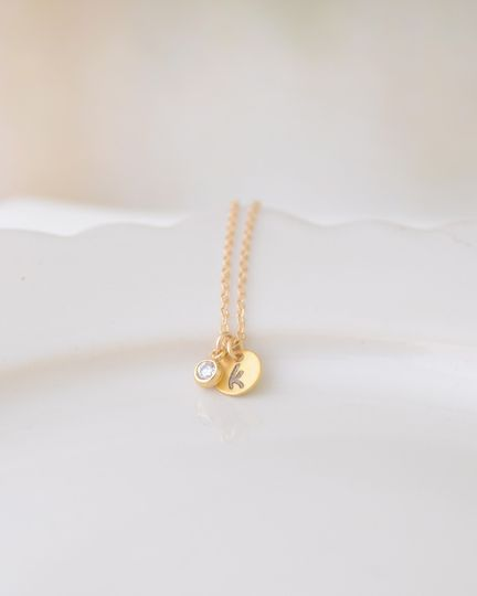 Tiny Disk Initial Necklace with extra sparkle. Silver or gold disk is hand stamped with the letter...