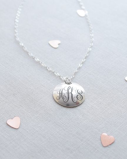 Engraved Monogram & Date Necklace. Include the marriage monogram on the front of this rounded disk...