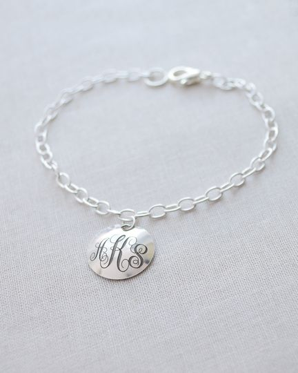 Engraved Monogram & Date Bracelet. Include the marriage monogram on the front of this rounded disk...