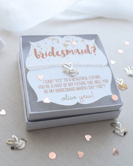 This sweet personalized lovebird necklace is such a cute way to ask her if she'll be your...