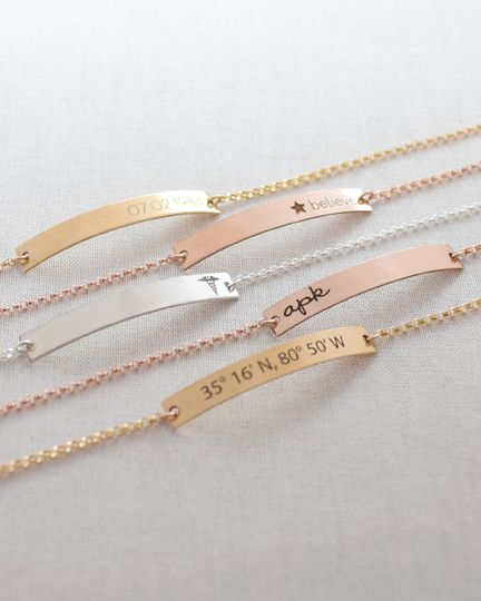 Engraved Bar Bracelet in silver, gold or rose gold. Customize with the initials, name, date, or...