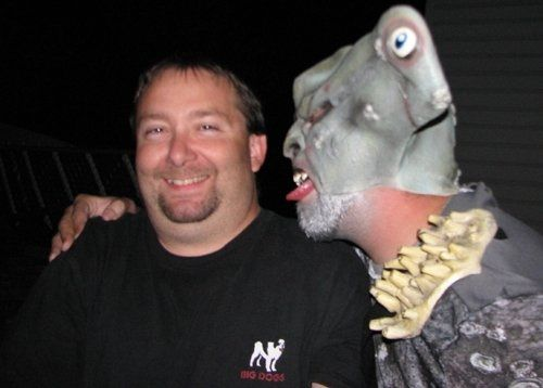 This is a picture of DJ Joe and one of his crazy fans at a show.