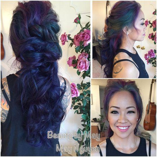 Blue wedding hair