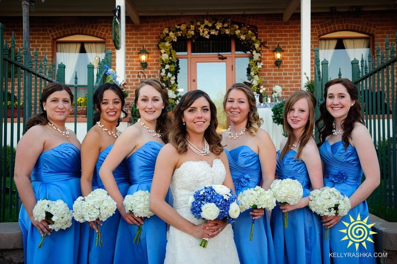 The beautiful bride and bridal party! Hair third from the right and very far right, done by me