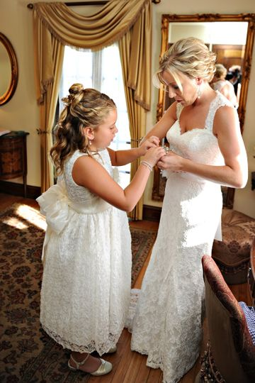 Helping the bride