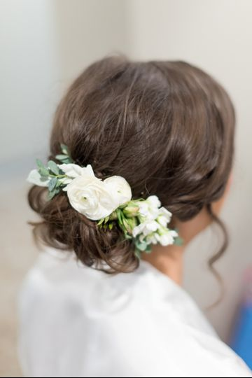 White flowers in her hair