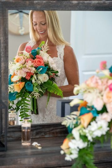 Coral & teal waterfall bouquet
