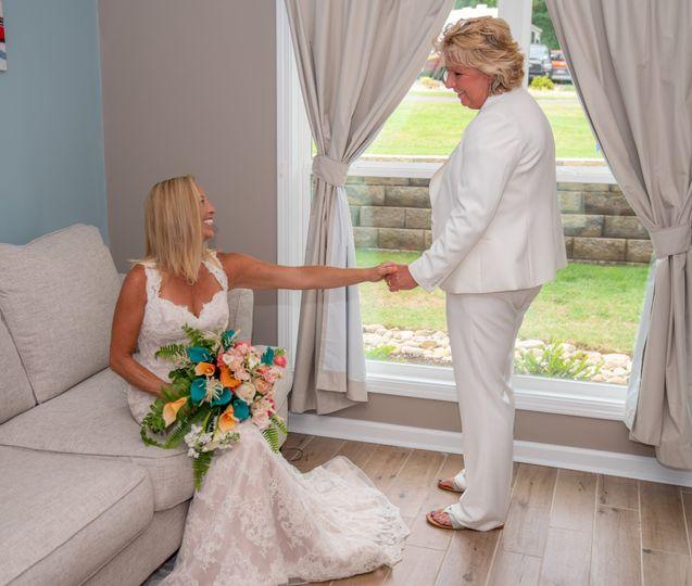 First look, the bride & bride.
