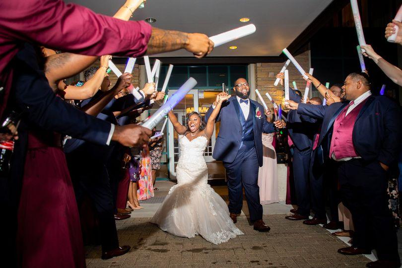 Wedding celebration exit