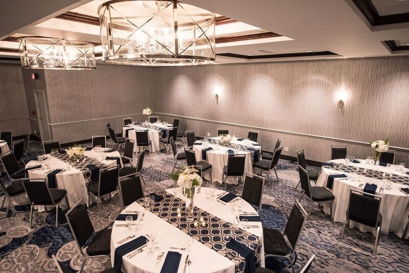 Renovated ballroom space with new comfortable chairs