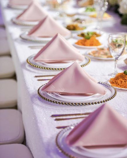 Glass gold charger plates with pink