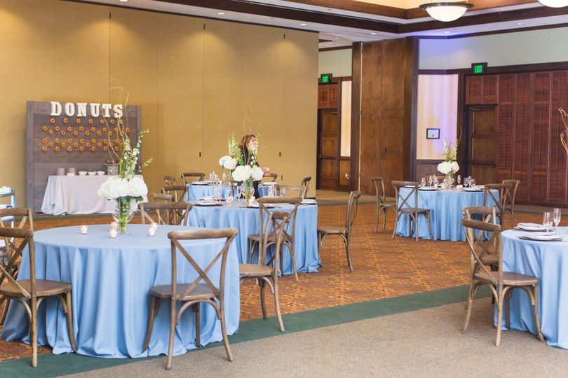 Blue reception tables