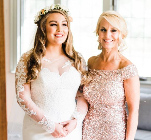 Mother and daughter in lace dresses