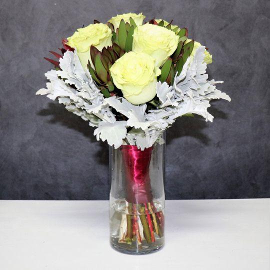 Bridal bouquet in vase