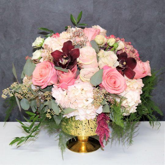 Pink garden style centerpiece