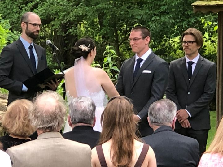 Newlyweds exchanging vows