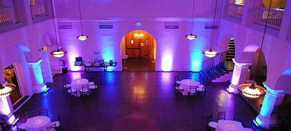 Reception space with up lighting
