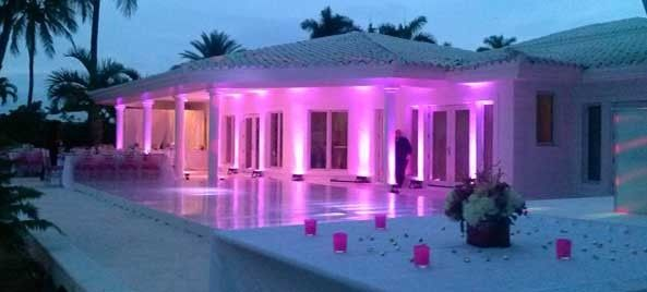 Poolside space with uplighting