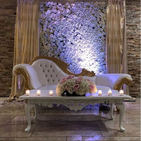 Regal couch and floral centerpiece