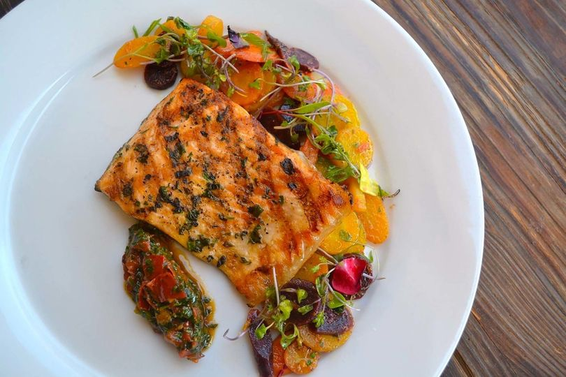 Grilled Artic Char - Sauteed Ginger Heirloom Carrots, Romesco