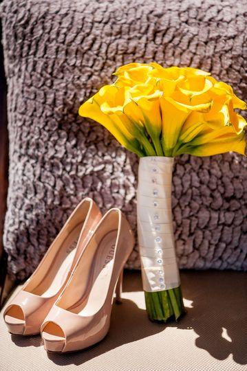 Heels and bouquet