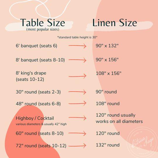 Linen Size Chart