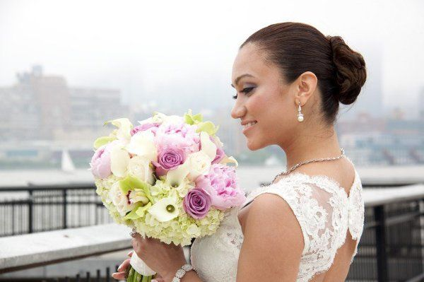 Bride with summer bouquet
