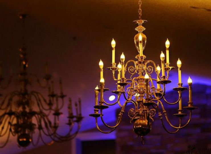 The chandeliers