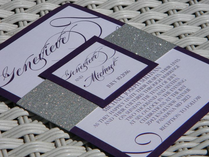 Violet and silver wedding invitation