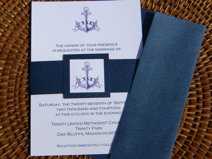 Blue and white invitation