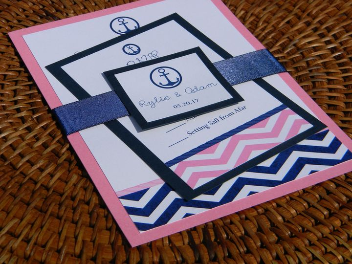 Navy inspired invitation