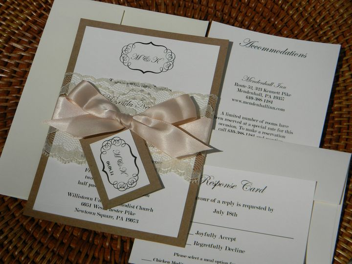 Gold invitation with peach ribbon