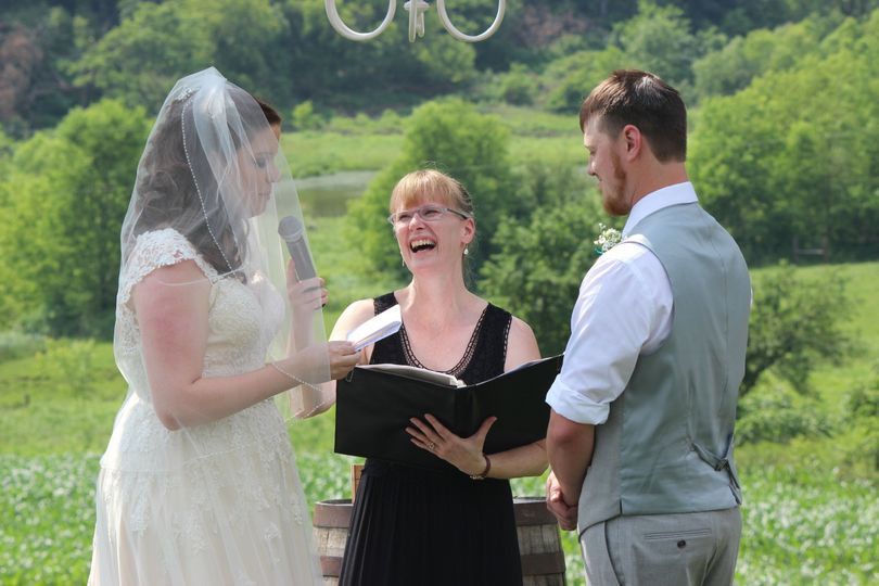 Happy officiant