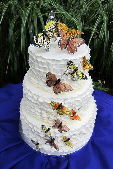 Textured white cake with butterflies