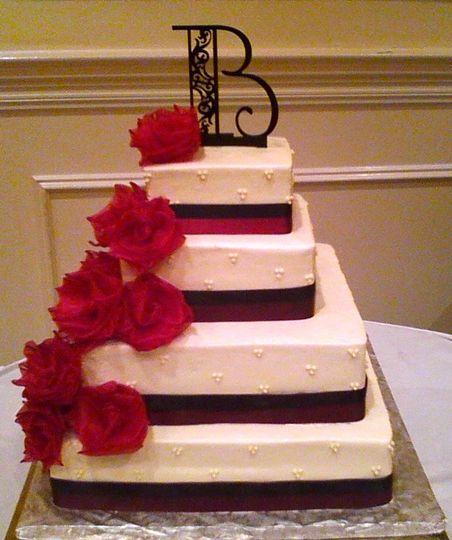 Square cake with rose design