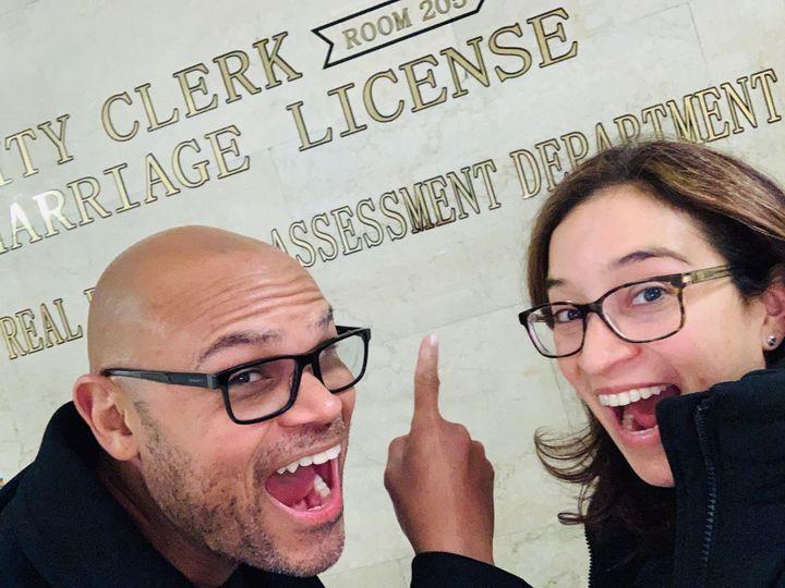 Marriage License selfie