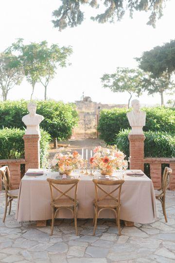 Living coral wedding ceremony