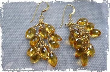 Citrine cluster bridesmaid earrings