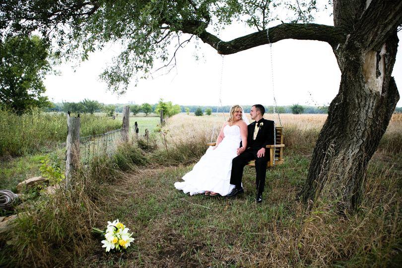Newlyweds on Tree Swing