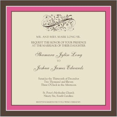 Clean lines, pink and brown wedding invitation. (Sample)