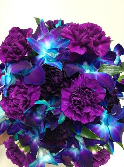 Blue and purple bouquet of flowers