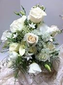 White roses and baby's breath