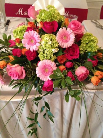 Pink, green, and red flowers