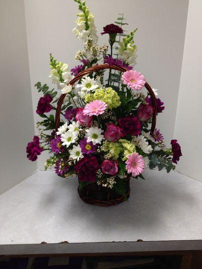 Basket flower arrangement sample