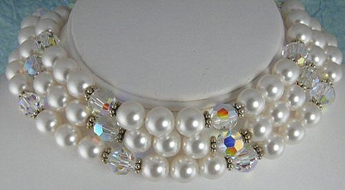 This stunning chocker is made with large 12mm Aurora Borealis clear Swarovski crystals, 12mm white...
