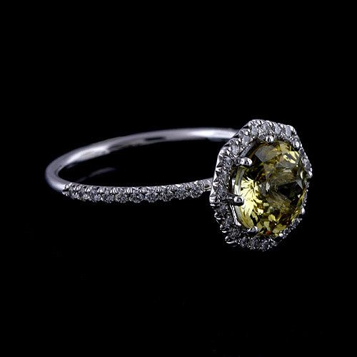 14K Gold Cut Down Micro Pave Diamond Yellow Sapphire Octagon Halo Modern Engagement Ring...