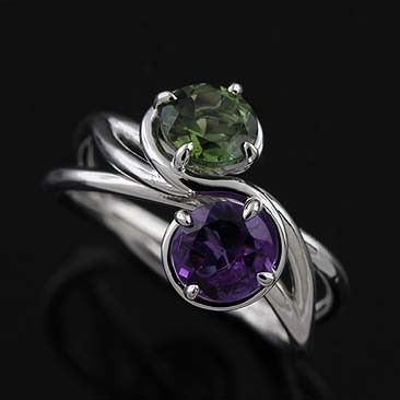 14K White Gold Triple Twisted Shank Amethyst Green Tourmaline Modern Engagement Ring...