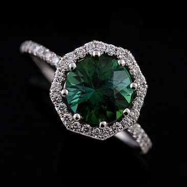 14K White Gold Cut Down Micro Pave Diamond Green Tourmaline Octagon Halo Engagement Ring...