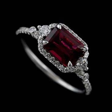 14K White Gold Diamond Emerald Cut Rubellite Halo Modern Engagement Ring...