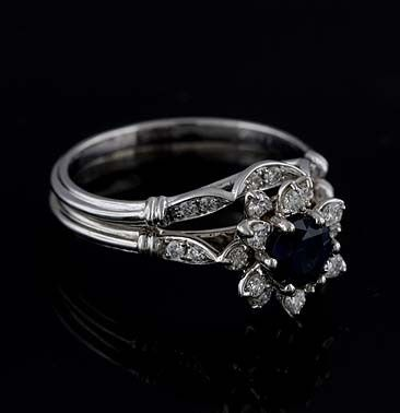 18kYellow Gold Diamond Sapphire Flower Modern Engagement Ring...